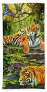 Tiger Family At The Pool Beach Towel