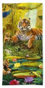 Tiger Family In The Jungle Beach Towel by Jan Patrik Krasny