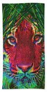 Tiger In The Grass Beach Towel
