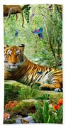 Tiger In The Jungle Beach Towel