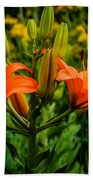 Tiger Lily Blossoms Beach Towel