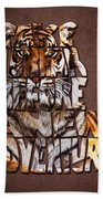 Tiger Majesty Typography Art Beach Towel