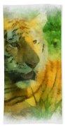 Tiger Resting Photo Art 01 Beach Towel