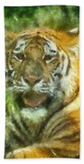 Tiger Resting Photo Art 05 Beach Towel