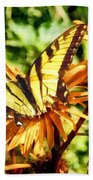 Tiger Swallowtail On Yellow Wildflower Beach Towel