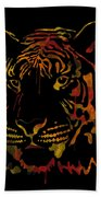 Tiger Watercolor - Black Beach Towel
