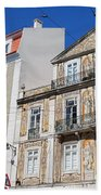 Tiled Building In Chiado District Of Lisbon Beach Towel