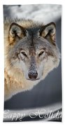 Timber Wolf Holiday Card 21 Beach Towel