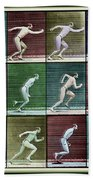 Time Lapse Motion Study Man Running Color Beach Towel