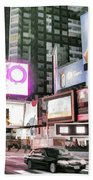 Times Square At Night Beach Sheet