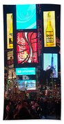 Times Square Crowds Beach Towel