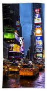 Times Square In The Rain Beach Towel by Garry Gay
