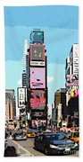 Times Square Nyc Cartoon-style Beach Towel