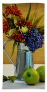 Tin Bouquet And Green Apples Beach Towel