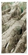 Tiny Man Walks Expansive Alpine Glacier Icefield Beach Towel