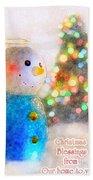 Tiny Snowman Christmas Card Beach Towel