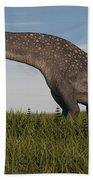 Titanosaurus Standing In Swamp Beach Towel