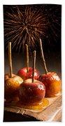Toffee Apples Group Beach Towel by Amanda Elwell