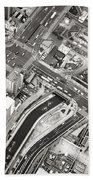 Tokyo Intersection Black And White Beach Towel