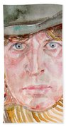 Tom Baker Doctor Who Watercolor Portrait Beach Towel