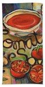 Tomato Soup Recipe Beach Towel by Jen Norton