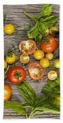 Tomatoes And Herbs Beach Towel by Elena Elisseeva