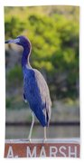 Tomoka Marsh Little Blue Heron Beach Towel