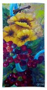 Too Delicate For Words - Yellow Flowers And Red Grapes Beach Towel