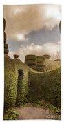 Topiary Maze In A Formal Garden Beach Towel