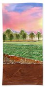 Torn Paper Fields Of Green And Brown Beach Towel