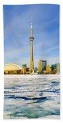 Toronto Skyline In Winter Beach Towel