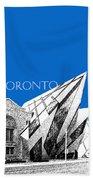 Toronto Skyline Royal Ontario Museum - Blue Beach Towel