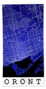Toronto Street Map - Toronto Canada Road Map Art On Colored Back Beach Towel