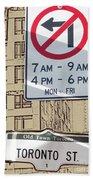 Toronto Street Sign Beach Towel