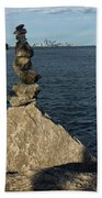 Toronto's Cn Tower Sculpted From Natural Stones Beach Towel