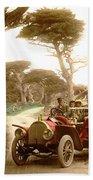 Royal Tourist Touring Car On The 17 Mile Drive Pebble Beach California Circa 1910 Beach Towel