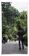 Tourists Inside A Downward Sloping Section In The Orchid Garden Beach Towel