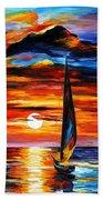 Towards The Sun - Palette Knife Oil Painting On Canvas By Leonid Afremov Beach Towel