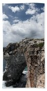 Stunning Tower Over The Cliffs Of Alcafar In Minorca Island - Tower And Sea Beach Towel