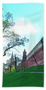 Tower And Wall From Park Outside Kremlin In Moscow-russia Beach Towel
