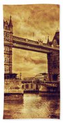 Tower Bridge In London Uk Vintage Style Beach Sheet