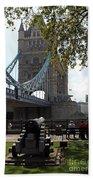 Tower Bridge In The City Of London Beach Towel