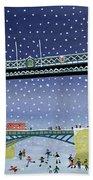 Tower Bridge Skating On Thin Ice Beach Towel