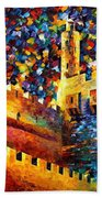 Tower - Palette Knife Oil Painting On Canvas By Leonid Afremov Beach Towel