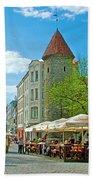 Towers As Gateways To Old Town Tallinn-estonia Beach Towel