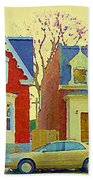 Town Houses In Winter Suburban Side Street South West Montreal City Scene Pointe St Charles Cspandau Beach Towel