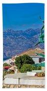Town Of Razanac With Velebit Background Beach Towel