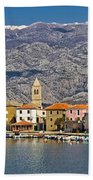 Town Of Vinjerac In Front Of Paklenica National Park Beach Towel