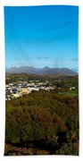 Town On A Hill With 12 Pin Mountain Beach Towel