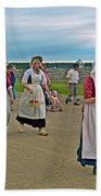 Townsfolk On Main Street In Louisbourg Living History Museum-174 Beach Towel